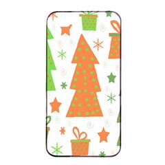 Christmas Design   Green And Orange Apple Iphone 4/4s Seamless Case (black) by Valentinaart