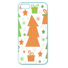 Christmas Design   Green And Orange Apple Seamless Iphone 5 Case (color) by Valentinaart
