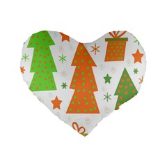 Christmas Design   Green And Orange Standard 16  Premium Heart Shape Cushions by Valentinaart