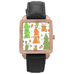 Christmas Design   Green And Orange Rose Gold Leather Watch  by Valentinaart
