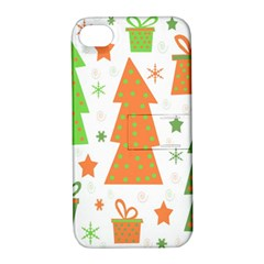 Christmas Design   Green And Orange Apple Iphone 4/4s Hardshell Case With Stand by Valentinaart
