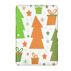Christmas Design   Green And Orange Samsung Galaxy Tab 2 (10 1 ) P5100 Hardshell Case