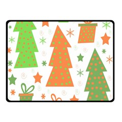 Christmas Design   Green And Orange Double Sided Fleece Blanket (small)  by Valentinaart