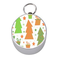 Christmas Design   Green And Orange Mini Silver Compasses by Valentinaart