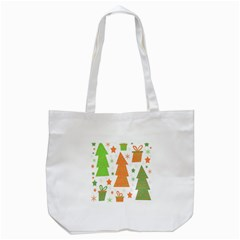 Christmas Design   Green And Orange Tote Bag (white) by Valentinaart