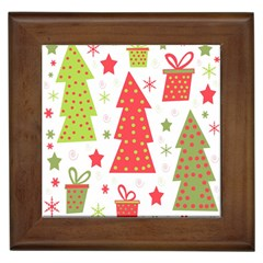 Christmas Design   Green And Red Framed Tiles by Valentinaart