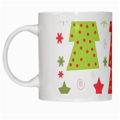Christmas Design   Green And Red White Mugs by Valentinaart