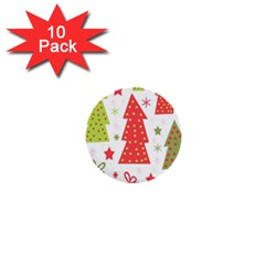 Christmas Design   Green And Red 1  Mini Buttons (10 Pack)  by Valentinaart