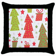 Christmas Design   Green And Red Throw Pillow Case (black) by Valentinaart