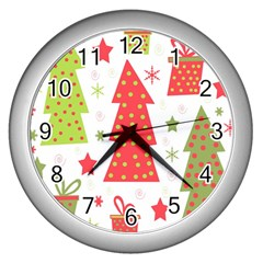 Christmas Design - Green And Red Wall Clocks (silver)  by Valentinaart