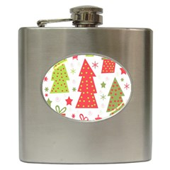 Christmas Design   Green And Red Hip Flask (6 Oz) by Valentinaart