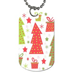 Christmas Design   Green And Red Dog Tag (two Sides) by Valentinaart