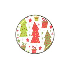 Christmas Design   Green And Red Hat Clip Ball Marker by Valentinaart
