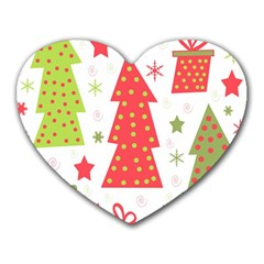 Christmas Design   Green And Red Heart Mousepads by Valentinaart