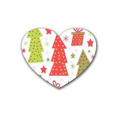 Christmas Design   Green And Red Rubber Coaster (heart)