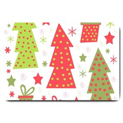 Christmas Design   Green And Red Large Doormat  by Valentinaart