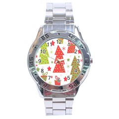 Christmas Design   Green And Red Stainless Steel Analogue Watch