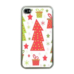 Christmas Design   Green And Red Apple Iphone 4 Case (clear) by Valentinaart