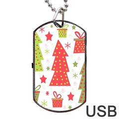 Christmas Design - Green And Red Dog Tag Usb Flash (two Sides)  by Valentinaart