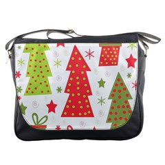 Christmas Design   Green And Red Messenger Bags by Valentinaart
