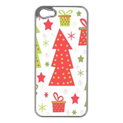 Christmas Design   Green And Red Apple Iphone 5 Case (silver) by Valentinaart