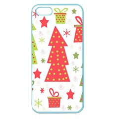 Christmas Design   Green And Red Apple Seamless Iphone 5 Case (color) by Valentinaart