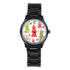 Christmas Design   Green And Red Stainless Steel Round Watch