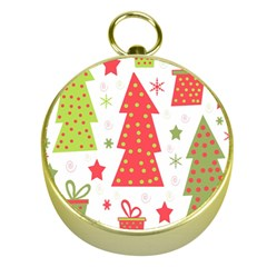 Christmas Design   Green And Red Gold Compasses