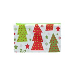 Christmas Design   Green And Red Cosmetic Bag (xs) by Valentinaart