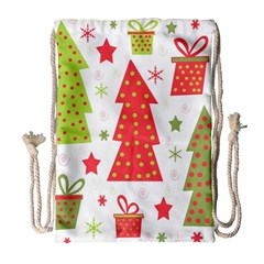 Christmas Design - Green And Red Drawstring Bag (large) by Valentinaart