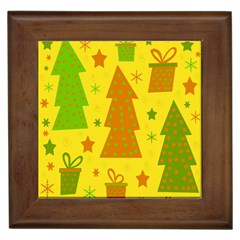 Christmas Design   Yellow Framed Tiles by Valentinaart