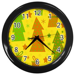 Christmas Design   Yellow Wall Clocks (black) by Valentinaart