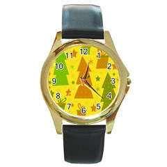 Christmas Design   Yellow Round Gold Metal Watch by Valentinaart