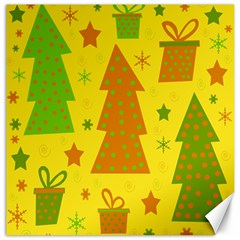 Christmas Design   Yellow Canvas 20  X 20   by Valentinaart