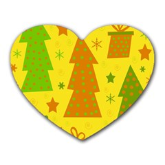 Christmas Design   Yellow Heart Mousepads by Valentinaart