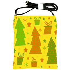Christmas Design   Yellow Shoulder Sling Bags by Valentinaart
