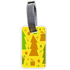 Christmas Design   Yellow Luggage Tags (two Sides) by Valentinaart