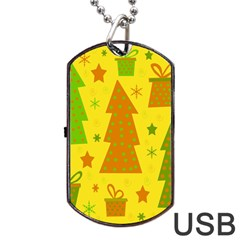 Christmas Design   Yellow Dog Tag Usb Flash (one Side) by Valentinaart