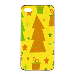 Christmas Design   Yellow Apple Iphone 4/4s Seamless Case (black) by Valentinaart