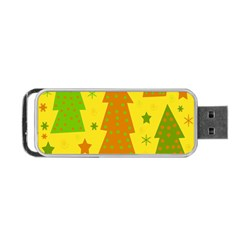 Christmas Design - Yellow Portable Usb Flash (one Side) by Valentinaart