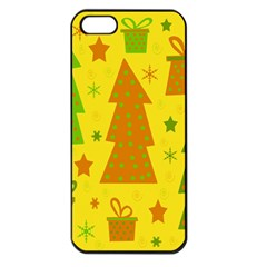 Christmas Design   Yellow Apple Iphone 5 Seamless Case (black) by Valentinaart