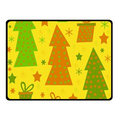 Christmas Design   Yellow Double Sided Fleece Blanket (small)  by Valentinaart