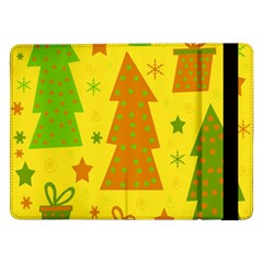 Christmas Design   Yellow Samsung Galaxy Tab Pro 12 2  Flip Case by Valentinaart