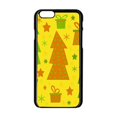 Christmas Design   Yellow Apple Iphone 6/6s Black Enamel Case by Valentinaart