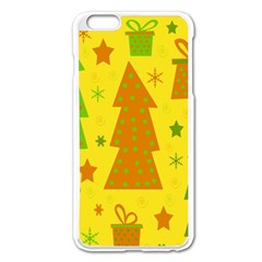 Christmas Design   Yellow Apple Iphone 6 Plus/6s Plus Enamel White Case by Valentinaart