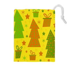 Christmas Design - Yellow Drawstring Pouches (extra Large) by Valentinaart