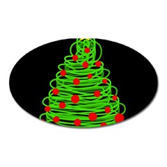 Christmas Tree Oval Magnet by Valentinaart