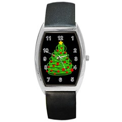Christmas Tree Barrel Style Metal Watch by Valentinaart