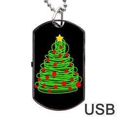 Christmas Tree Dog Tag Usb Flash (two Sides)  by Valentinaart