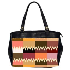 Chevrons In Squares                                                                                                 Oversize Office Handbag (2 Sides) by LalyLauraFLM